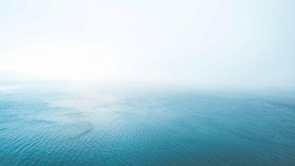 Blue Endless Ocean in Fog
